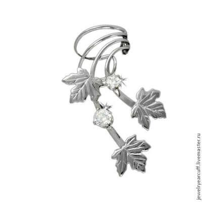 Кафф серьга Кленовые листья с цирконами из серебра