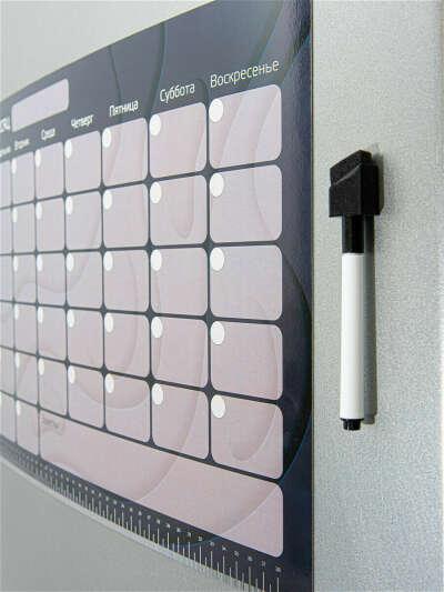 """Магнитный планер на месяц. Доска-планинг для заметок на холодильник. А3. 6 недель. """"Dark"""""""