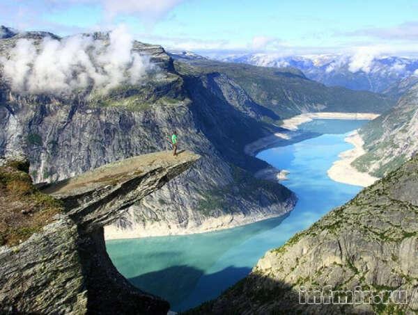 Посидеть на горе Язык Тролля в Норвегии