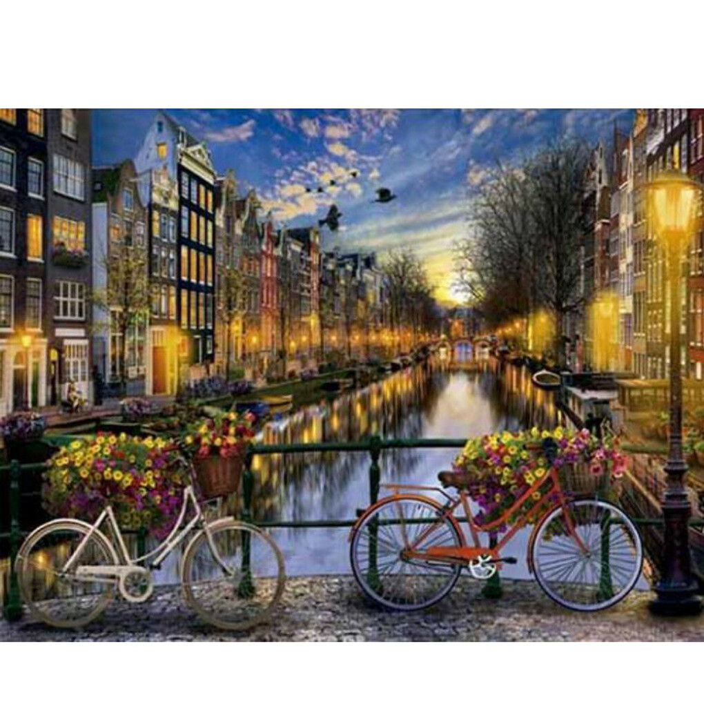 Bicycles and the Canals of Amsterdam - GeekoPicasso Paint-by-Number Kit - GeekoPlanet