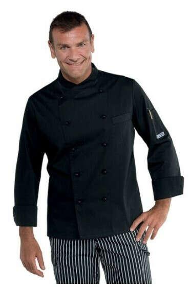 Giacca cuoco chef Panama Isacco 058201 – colore nero – slim uomo