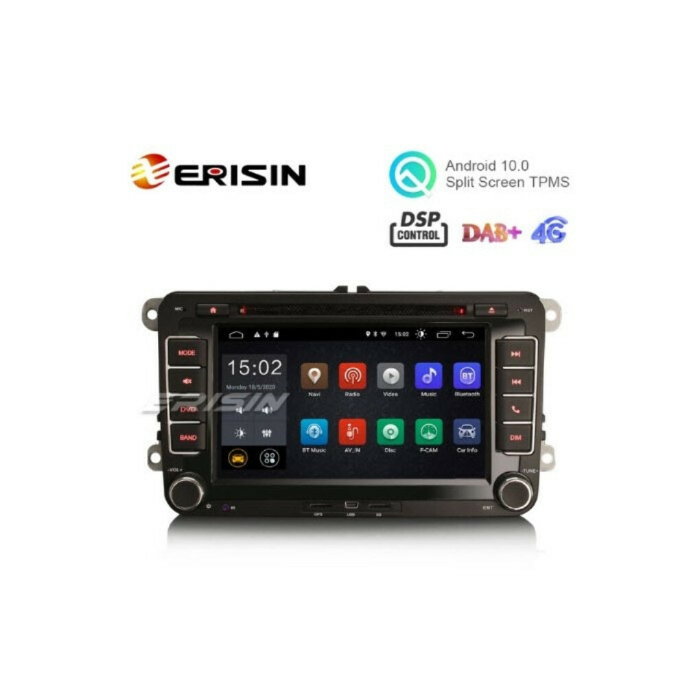 "ERISIN ES2655V 7"" ANDROID 10.0 CAR RADIO DVD GPS SAT 4G WIFI DSP FOR VW SEAT SKODA"