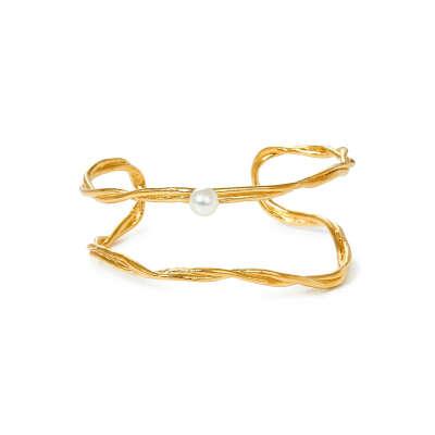 Позолоченный незамкнутый браслет с жемчугом, из коллекции Bliss - Joid'Art