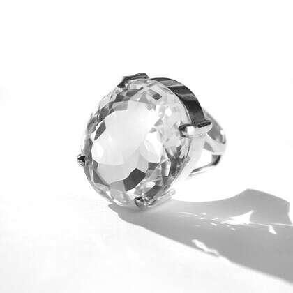 Кольцо 'Crystal' с горным хрусталем серебряное