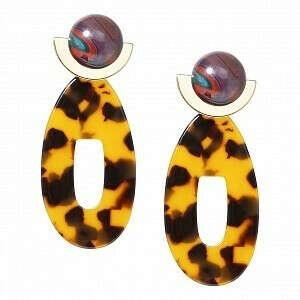Цветные пусеты с леопардовыми подвесками-овалами - Aloud