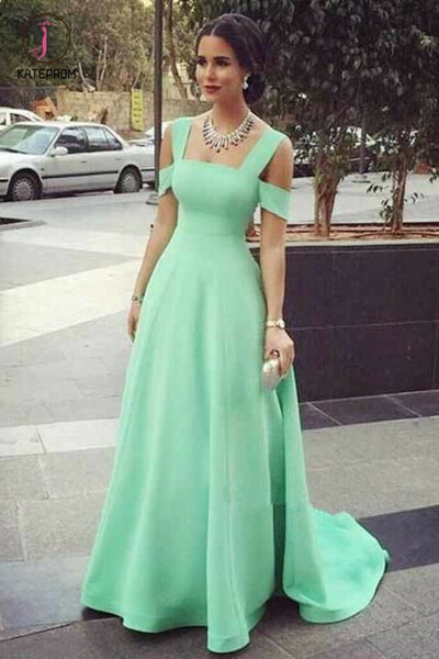 Mint Green Straps Sweep Train Prom Dress, Simple A Line Long Evening Dresses KPP0543