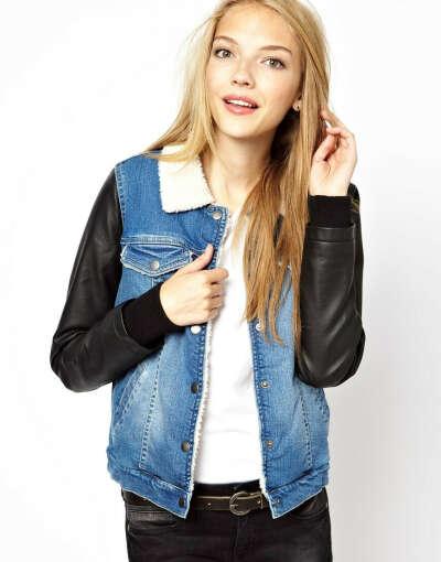 Vero Moda Leather Look Sleeve Teddy Denim Jacket