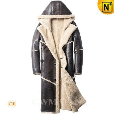 Sheepskin Trench Coat   Custom Sheepskin Long Parka for Men CW828630   CWMALLS®