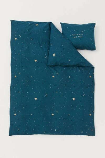 Хлопковое постельное бельё H&M со звёздочками