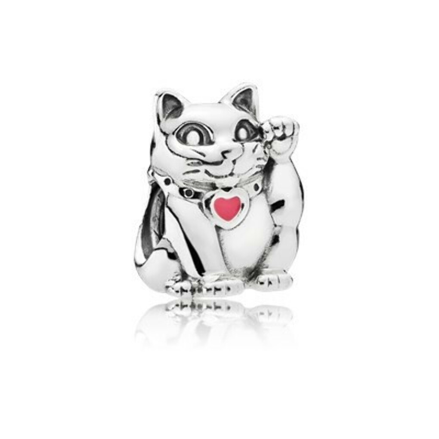 PANDORA | Lucky cat, pink enamel