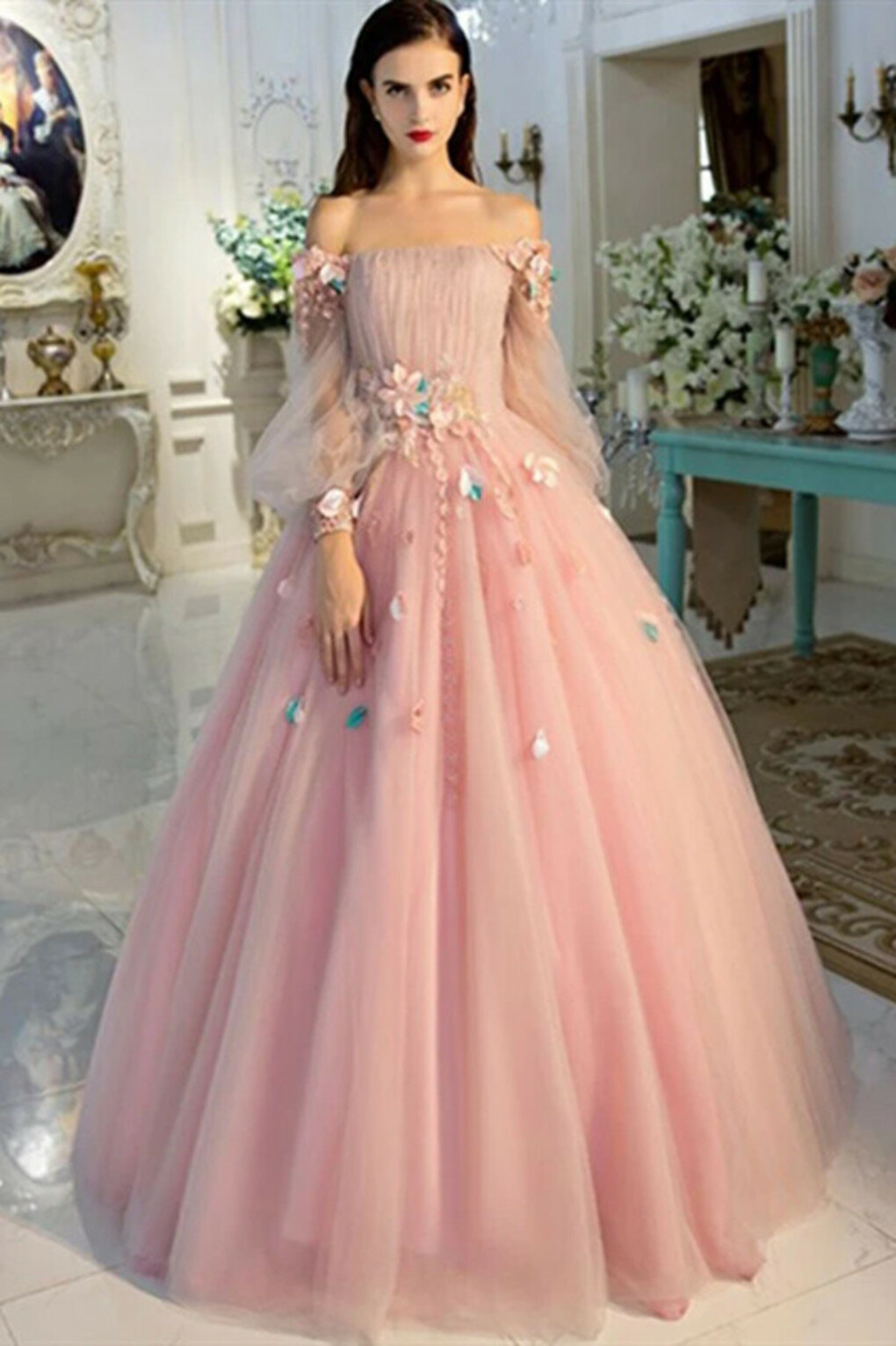 Kateprom Long Sleeve Prom Dresses Pearl Pink Ball Gown Long Floral Fairy Prom Dress KPP1341