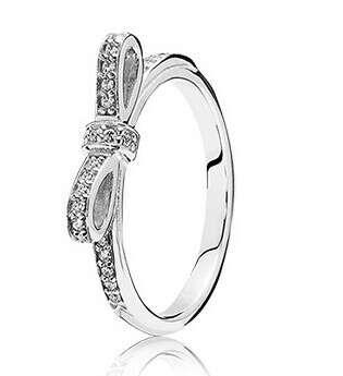 Pandora: Кольцо из серебра с цирконием, бантик