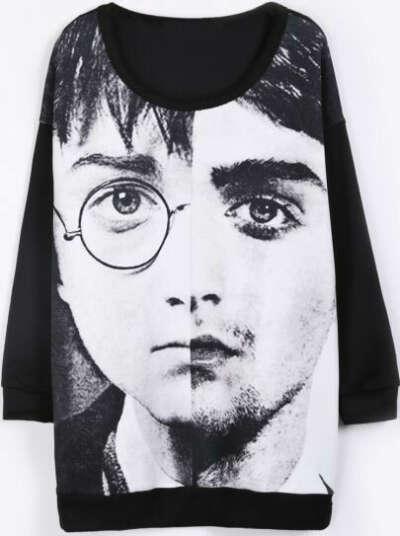 Чёрная длинная футболка печати Harry Potter