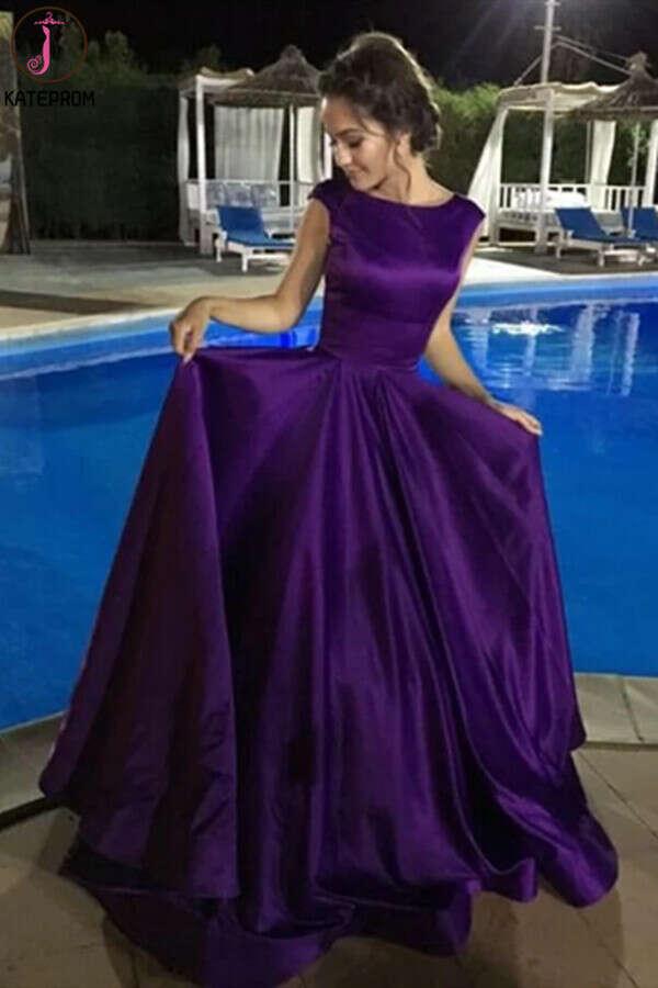 Kateprom Chic A-line Bateau Regency Satin Simple Long Prom Dress Evening Dress KPP1332