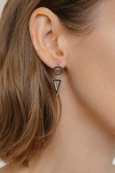 Avgvst Jewelry Моносерьга Круг-Треугольник черная