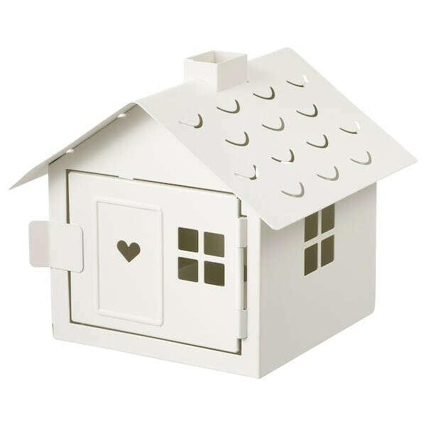 ВИНТЕРФЕСТ Подсвечник для греющей свечи - домик, белый - IKEA