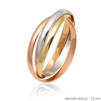 """Тройное кольцо в стиле """"Картье Тринити"""" (Cartier Trinity)"""