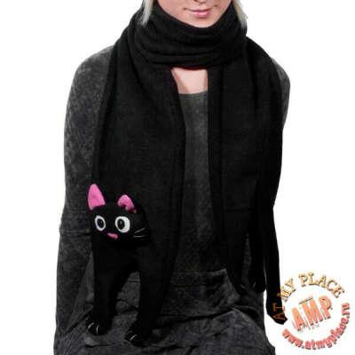 """Черный шарф """"Котик"""""""