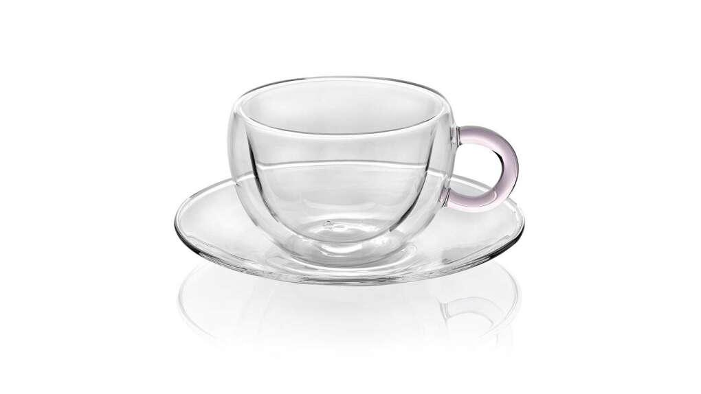 Чайный набор из стеклянных чашки и блюдца