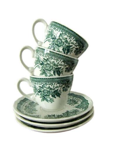 ВИНТАЖ > Кофейная пара c зеленым рисунком купить в интернет-магазине
