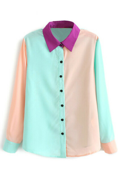 Retro Color Block Blue Shirt