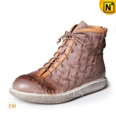 CWMALLS Womens Woven Leather Lace Up Ankle Boots CW305323
