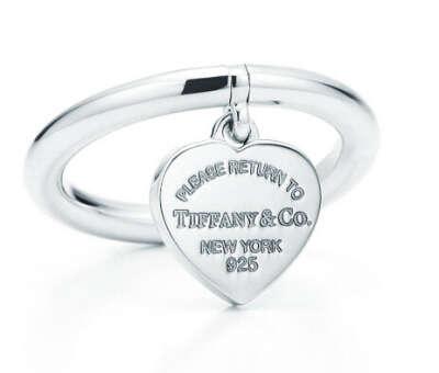 Tiffany кольцо с подвеской в форме сердца