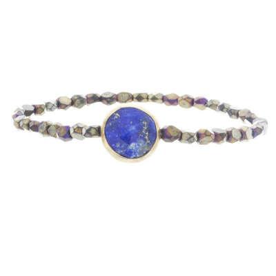 Gemstone And Glass Bead Bracelet