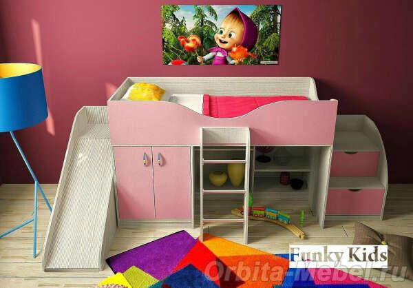 Кровать чердак розовая с горкой