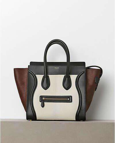 Celine Boston Light Grey Black Smile Cowhide Bag