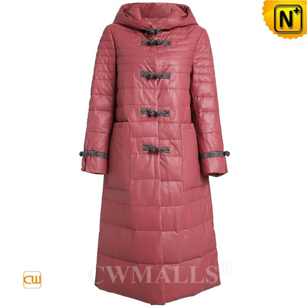 Women Leather Down Coat | Quilted Leather Long Down Coat with Hood CW602606 | CWMALLS®
