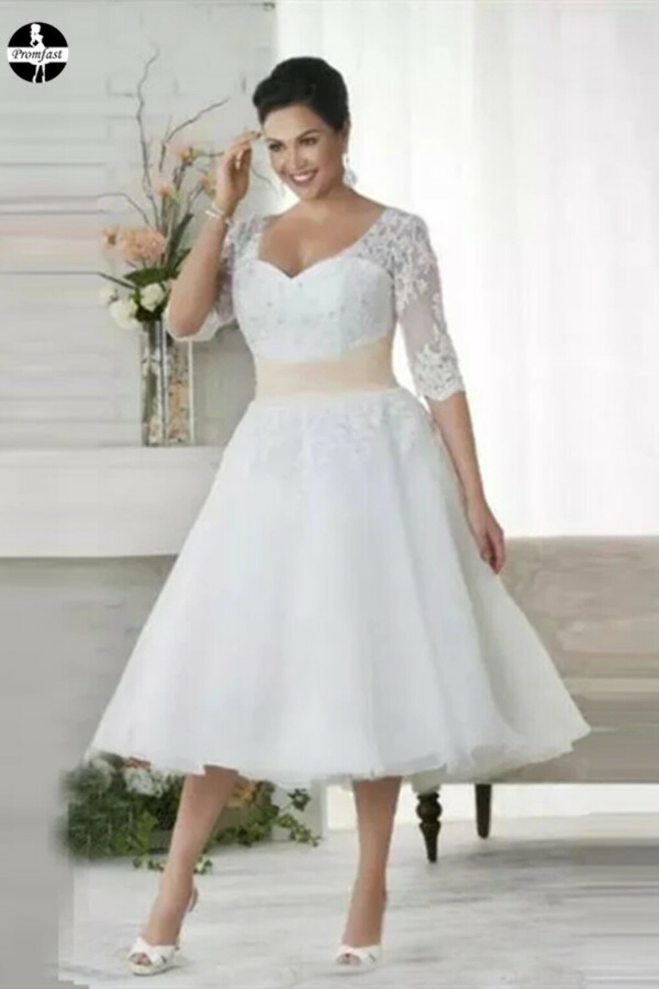 Promfast Chic Tea Length Wedding Dresses A-line Half Sleeve V neck Lace Wedding Dress PFM0017