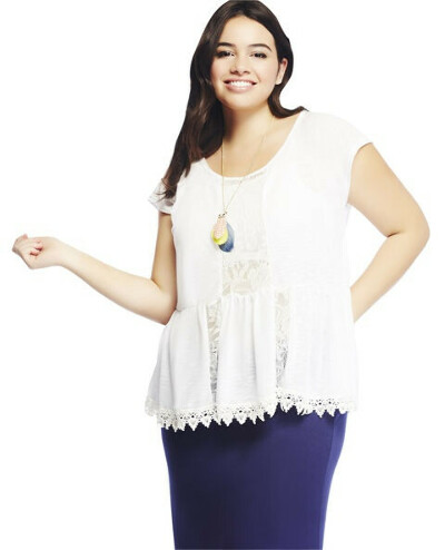 Lace Inset & Trim Flounce Tee | Wet Seal +