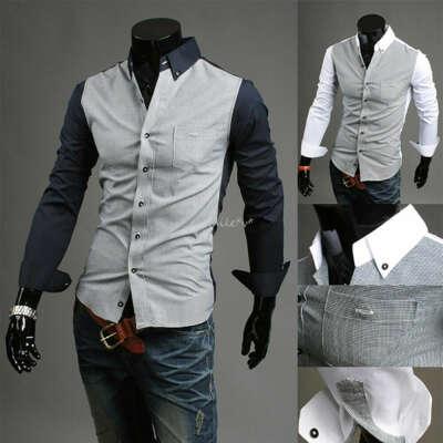 Fashion MEN Luxury Casual Slim Fit Stylish Dress Shirts 2 Colors 4 Sizes US XS-L