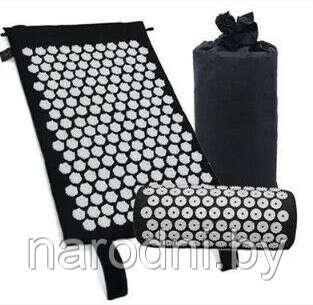 Набор для акупунктурного массажа. Коврик + подушка в чехле. Коврик массажный акупунктурный с подушкой  + сумка Черный
