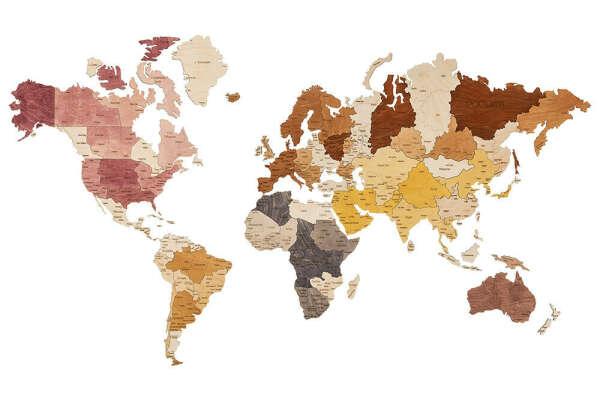 Карта мира из дерева 1600х850 / интерьерная карта на стену