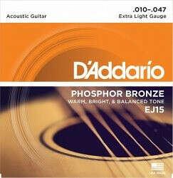 Струны для акустической гитары (например, D`ADDARIO EJ15 PHOSPHOR BRONZE EXTRA LIGHT 10-47)