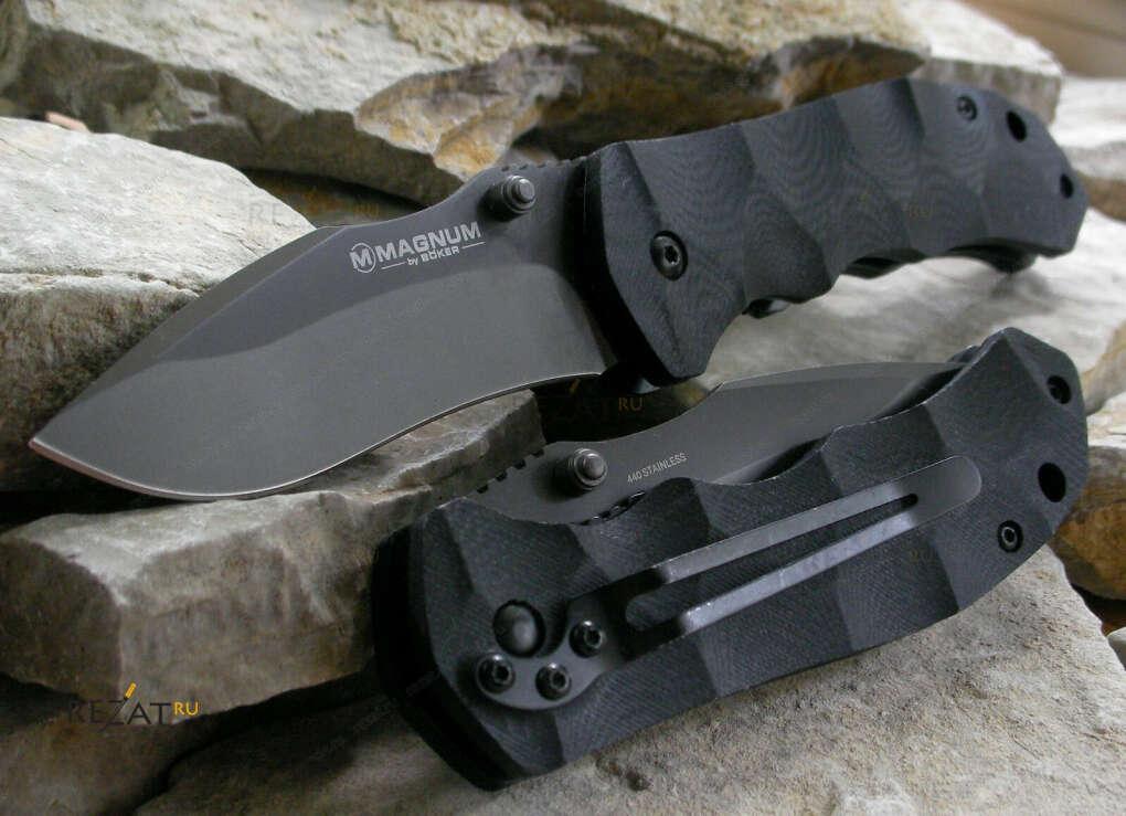 Надёжный чёрный складной нож