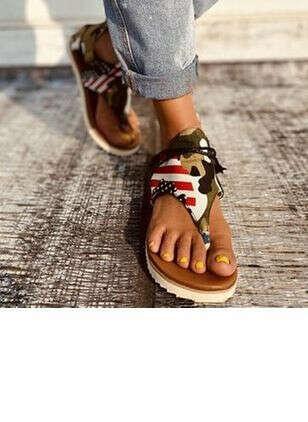 Женские из ткани сандалии молния Вьетнамки на плоским каблуке  - Floryday @ floryday.com