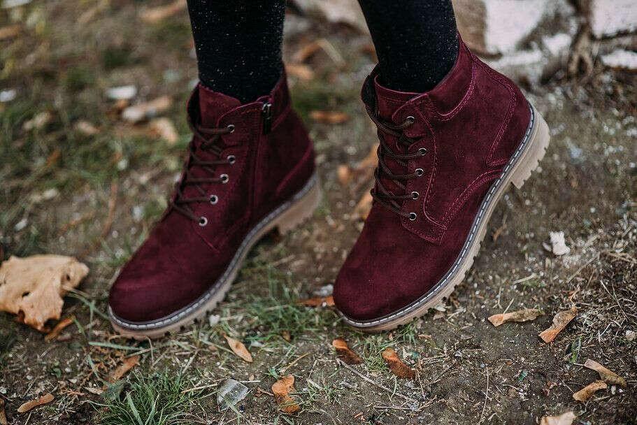Женские ботинки цвет бордовый, натуральный нубук