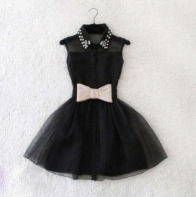 Платье с юбкой-пачкой, бантом и отделкой бусинами
