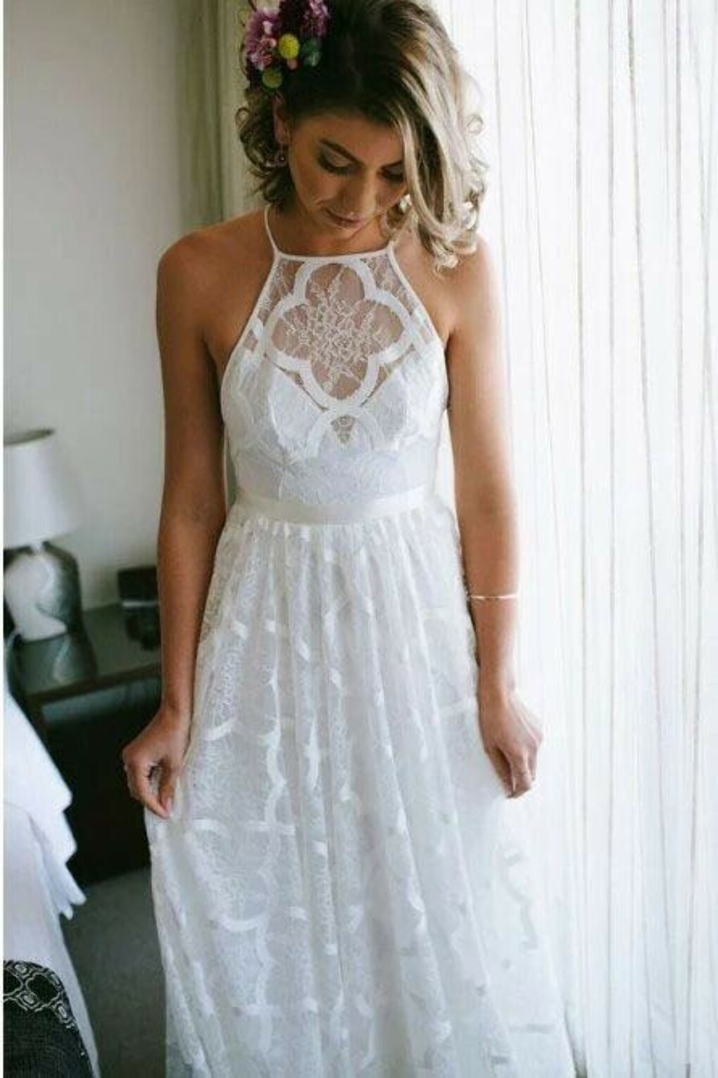 Charming A-Line Halter Backless Sweep Train White Lace Wedding Dress PFW0430
