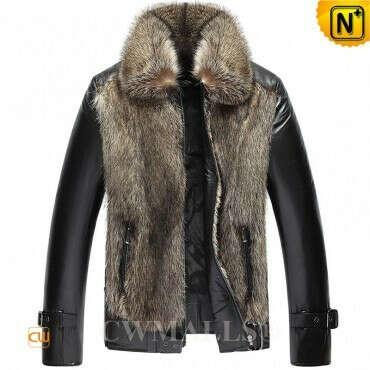 CWMALLS® Men's Raccoon Fur Trim Leather Jacket CW817257