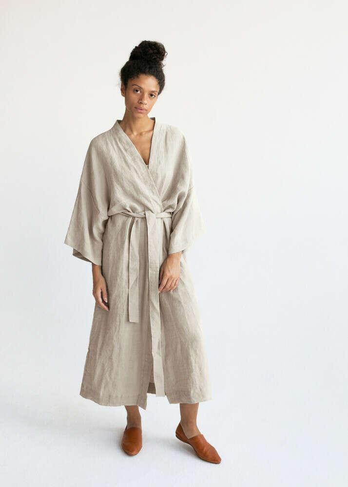 Халат-кимоно из умягченного льна stone washed светло-бежевый