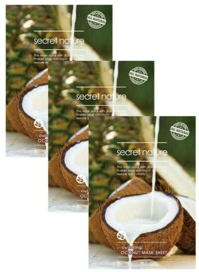 SECRET NATURE Питательная маска для лица с кокосом Secret Nature Nourishing Coconut Mask Sheet Т, 3 шт.