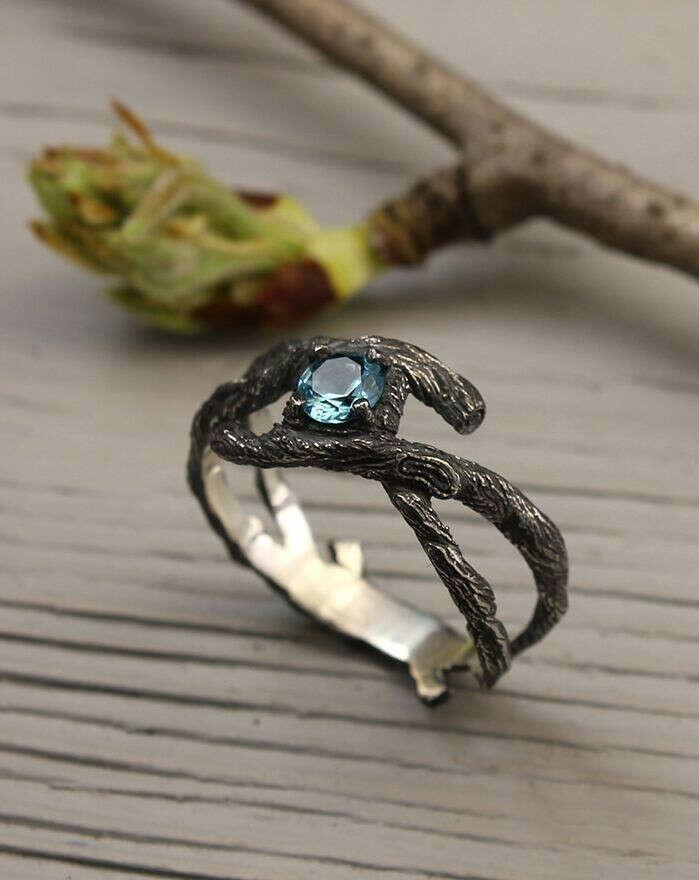 Необычные кольца (белый или чернёный металл)
