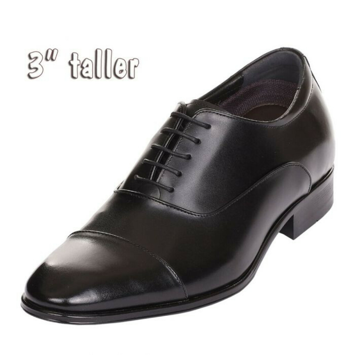 "Tall Shoe Men Semi Glossy Black for Work & Formal Dressy 3"" Tall RJW503"
