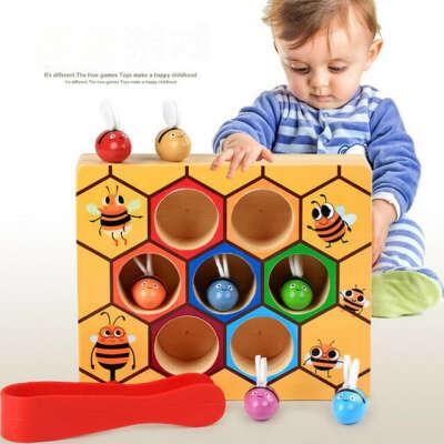 Деревянные Обучающие игрушки Монтессори Hardworking Bee Hive Games детские игрушки 85 купить на AliExpress