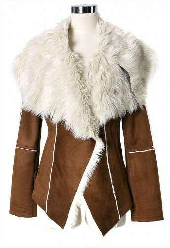 Faux Fur Lapel Camel Coat by Chic+