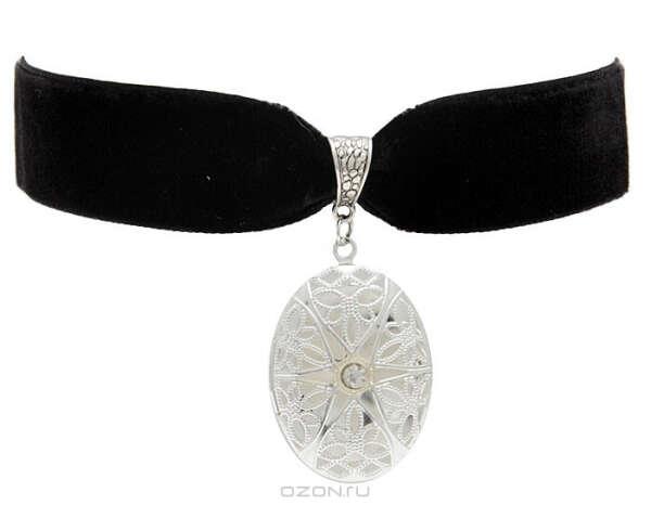 """Бархотка """"Мадлен"""" в стиле """"викторианская готика"""". Прозрачный кристалл, филигрань, металл серебряного тона, черный велюр. Ручная работа. США, 2005 год"""